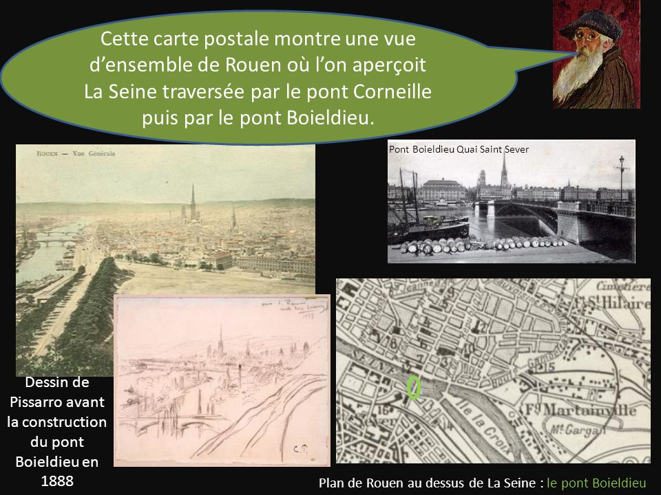 Cette carte postale montre une vue d'ensemble de Rouen où l'on aperçoit La Seine traversée par le pont Corneille puis par le pont Boieldieu.