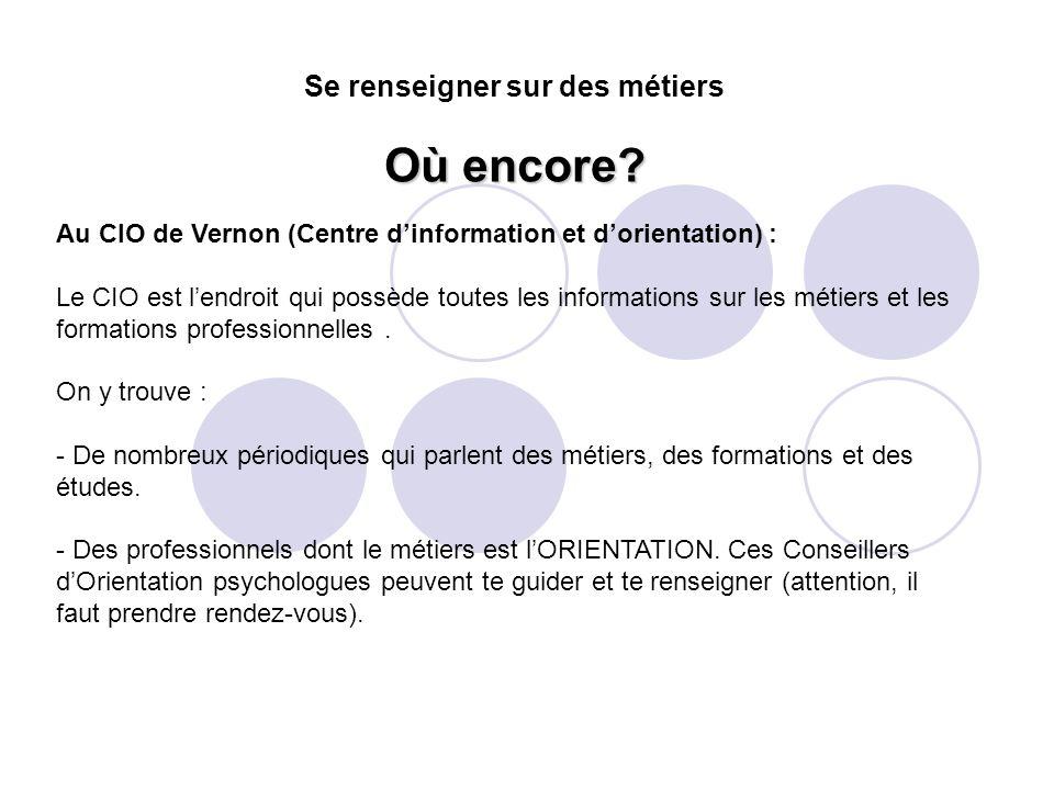 Au CIO de Vernon (Centre d'information et d'orientation) : Le CIO est l'endroit qui possède toutes les informations sur les métiers et les formations