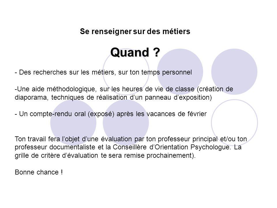 - Des recherches sur les métiers, sur ton temps personnel -Une aide méthodologique, sur les heures de vie de classe (création de diaporama, techniques