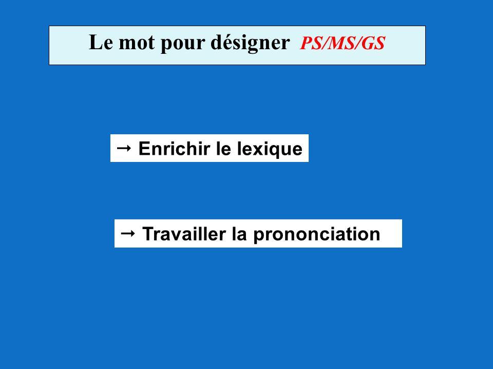 Le mot pour désigner PS/MS/GS  Enrichir le lexique  Travailler la prononciation