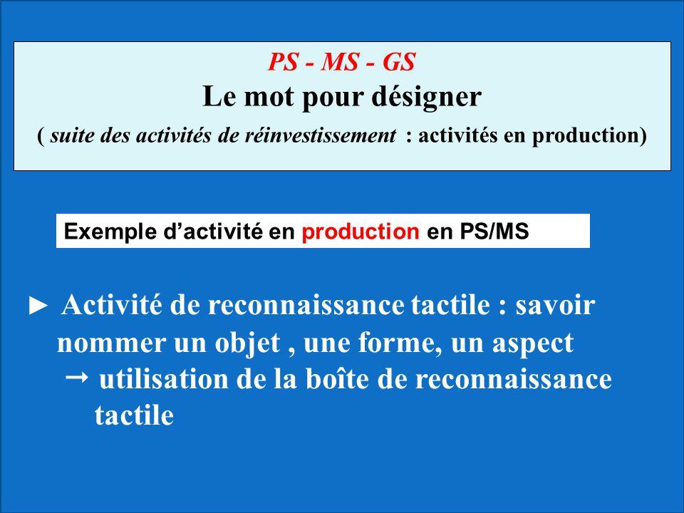 ► Activité de reconnaissance tactile : savoir nommer un objet, une forme, un aspect  utilisation de la boîte de reconnaissance tactile PS - MS - GS L