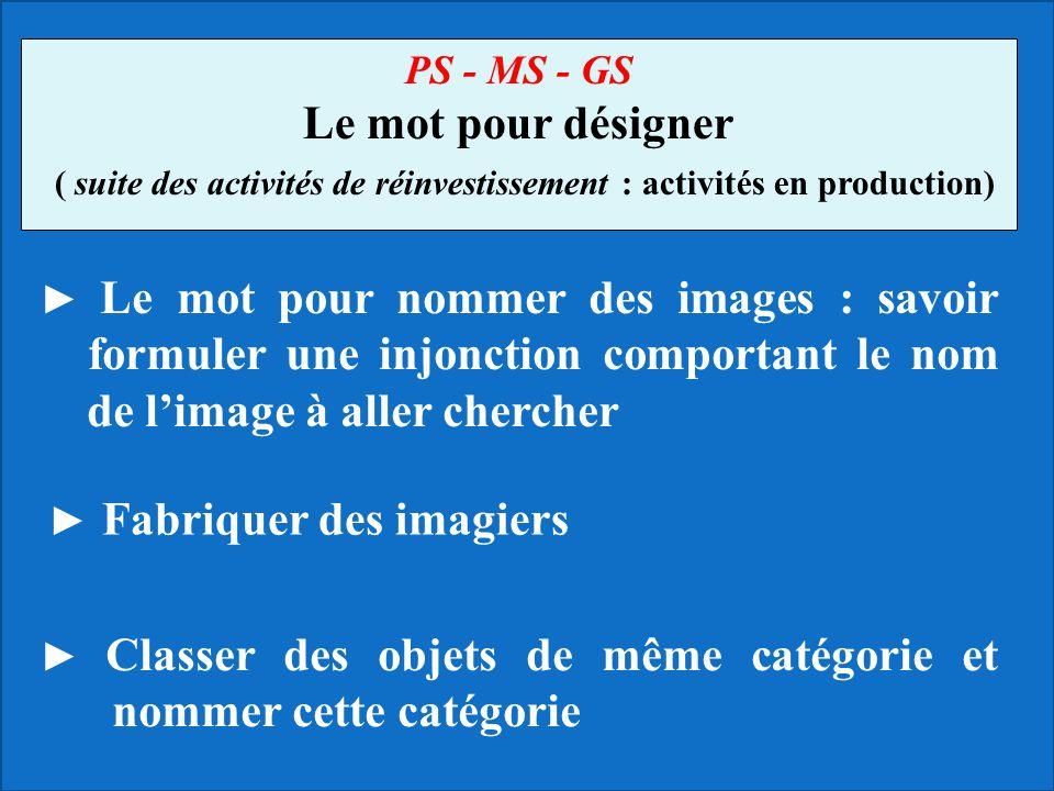 ► Le mot pour nommer des images : savoir formuler une injonction comportant le nom de l'image à aller chercher PS - MS - GS Le mot pour désigner ( sui