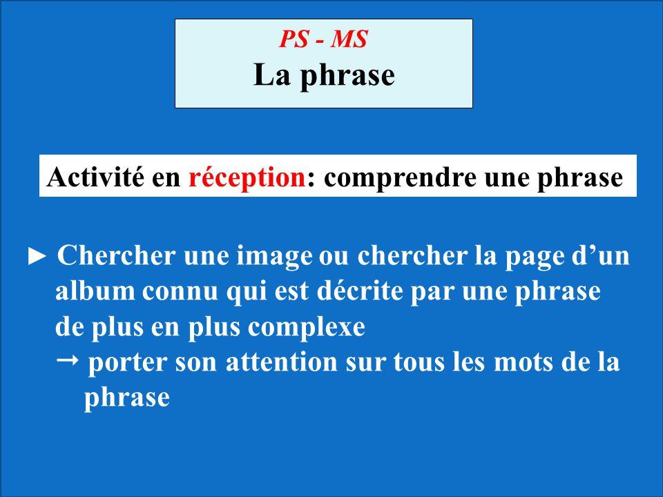 PS - MS La phrase ► Chercher une image ou chercher la page d'un album connu qui est décrite par une phrase de plus en plus complexe  porter son atten