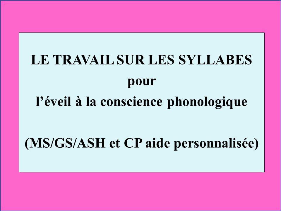 LE TRAVAIL SUR LES SYLLABES pour l'éveil à la conscience phonologique (MS/GS/ASH et CP aide personnalisée)