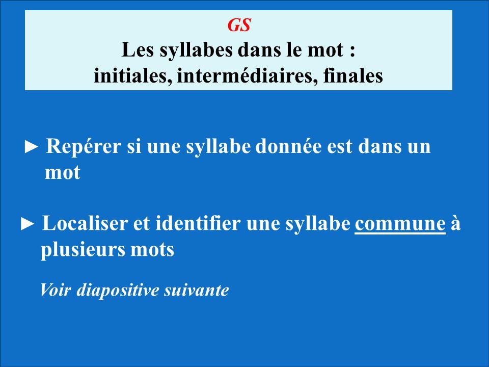 ► Repérer si une syllabe donnée est dans un mot ► Localiser et identifier une syllabe commune à plusieurs mots Voir diapositive suivante GS Les syllab