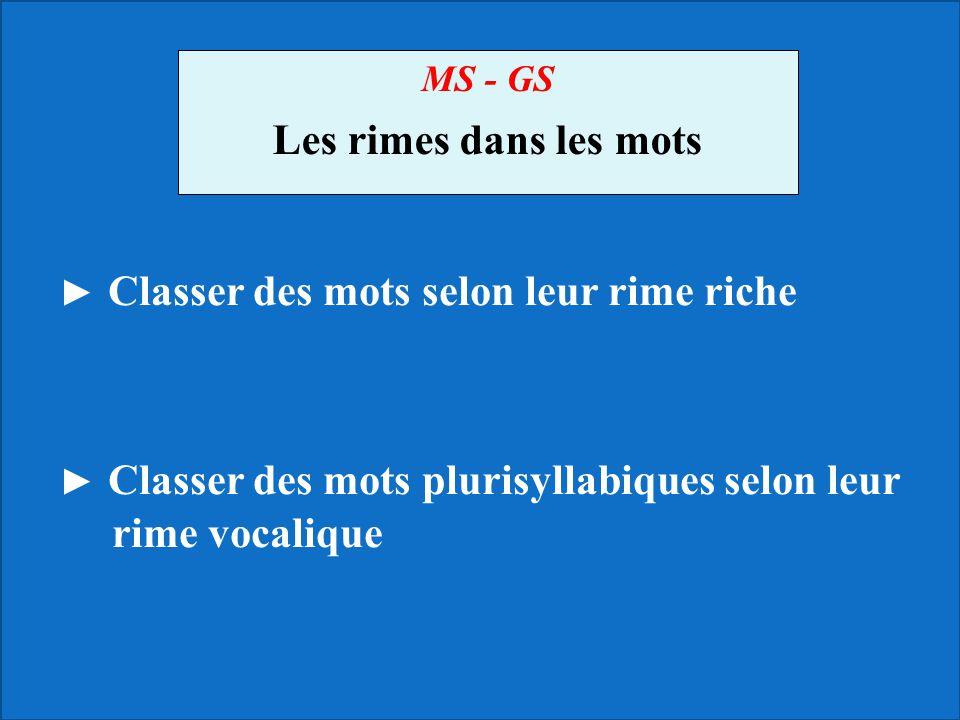 MS - GS Les rimes dans les mots ► Classer des mots selon leur rime riche ► Classer des mots plurisyllabiques selon leur rime vocalique