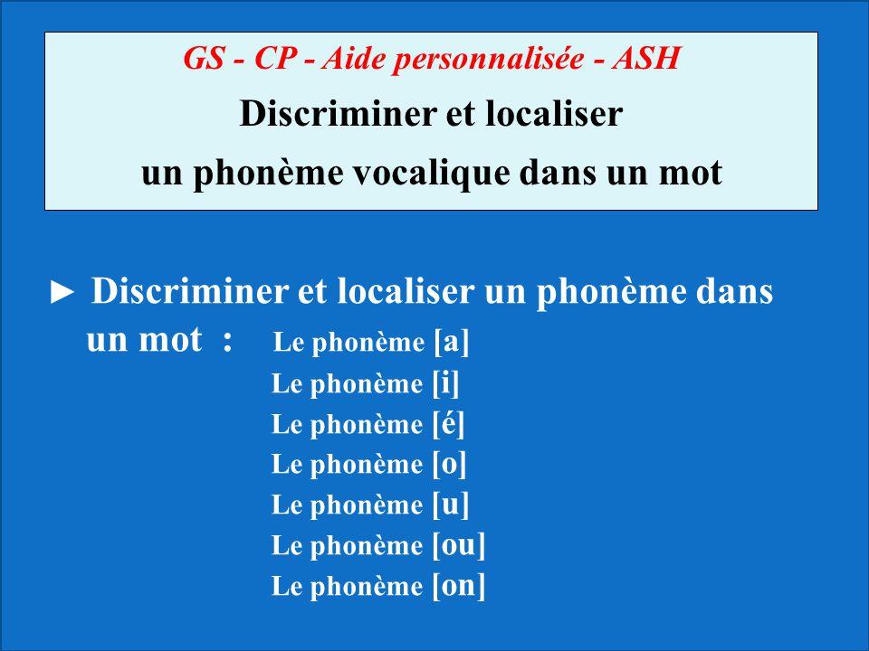 GS - CP - Aide personnalisée - ASH Discriminer et localiser un phonème vocalique dans un mot ► Discriminer et localiser un phonème dans un mot : Le ph