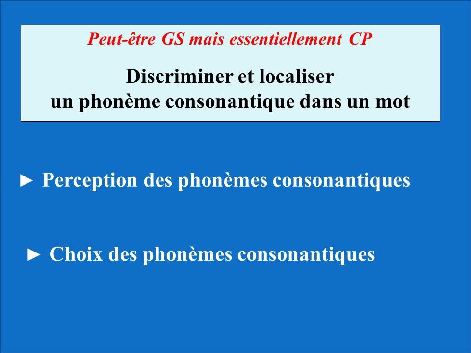 Peut-être GS mais essentiellement CP Discriminer et localiser un phonème consonantique dans un mot ► Choix des phonèmes consonantiques ► Perception de
