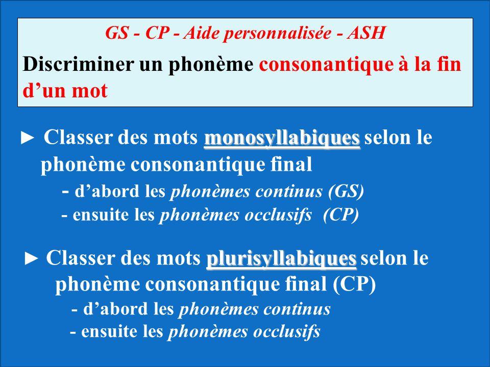 GS - CP - Aide personnalisée - ASH Discriminer un phonème consonantique à la fin d'un mot monosyllabiques ► Classer des mots monosyllabiques selon le