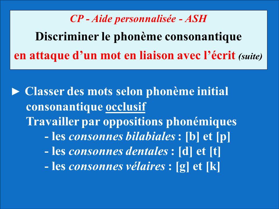 CP - Aide personnalisée - ASH Discriminer le phonème consonantique en attaque d'un mot en liaison avec l'écrit (suite) ► Classer des mots selon phonèm