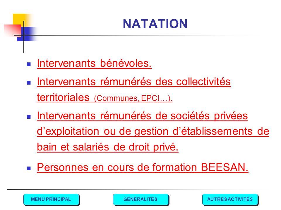 NATATION Intervenants bénévoles. Intervenants rémunérés des collectivités territoriales (Communes, EPCI…). Intervenants rémunérés des collectivités te
