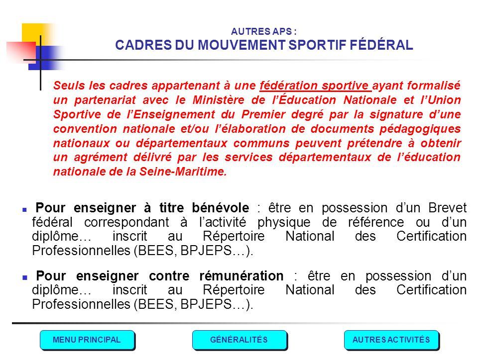 AUTRES APS : CADRES DU MOUVEMENT SPORTIF FÉDÉRAL Pour enseigner à titre bénévole : être en possession d'un Brevet fédéral correspondant à l'activité p