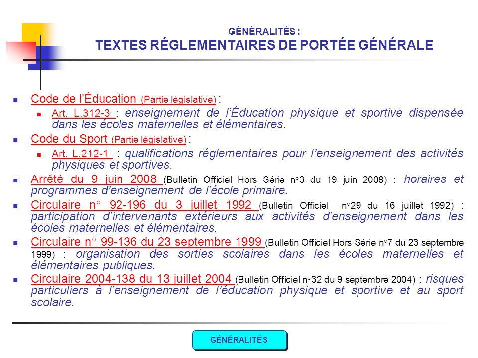 GÉNÉRALITÉS : TEXTES RÉGLEMENTAIRES DE PORTÉE GÉNÉRALE Code de l'Éducation (Partie législative) : Code de l'Éducation (Partie législative) Art. L.312-