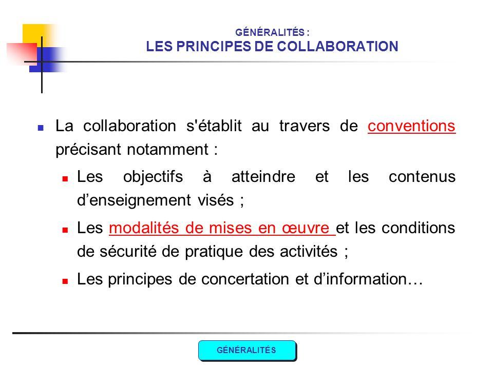 GÉNÉRALITÉS : LES PRINCIPES DE COLLABORATION La collaboration s'établit au travers de conventions précisant notamment :conventions Les objectifs à att
