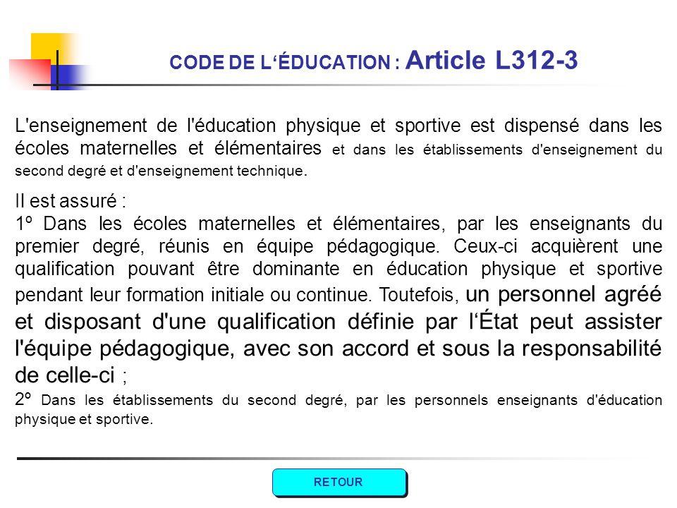 L'enseignement de l'éducation physique et sportive est dispensé dans les écoles maternelles et élémentaires et dans les établissements d'enseignement