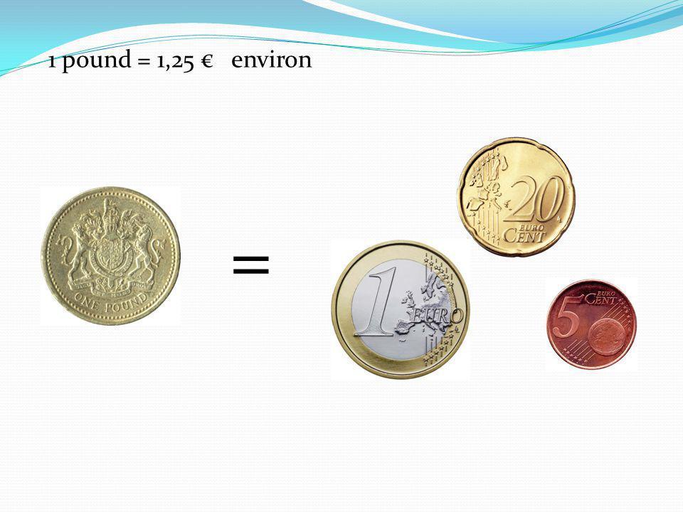 Il y a des pièces de 1 penny, 2 pence, 5 pence, 10 pence, 20 pence, 50 pence, 1 pound, 2 pounds.