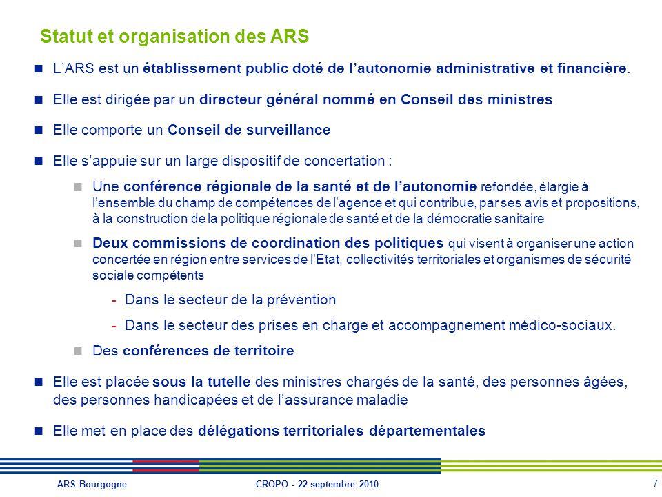 7 CROPO - 22 septembre 2010ARS Bourgogne Statut et organisation des ARS L'ARS est un établissement public doté de l'autonomie administrative et financ