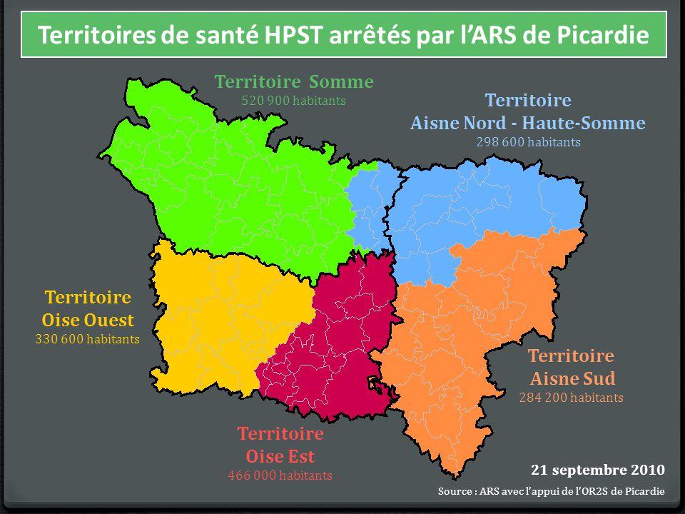 Territoire Oise Est 466 000 habitants Territoire Somme 520 900 habitants Territoire Aisne Nord - Haute-Somme 298 600 habitants Territoire Aisne Sud 284 200 habitants Territoire Oise Ouest 330 600 habitants 21 septembre 2010 Source : ARS avec l'appui de l'OR2S de Picardie Territoires de santé HPST arrêtés par l'ARS de Picardie