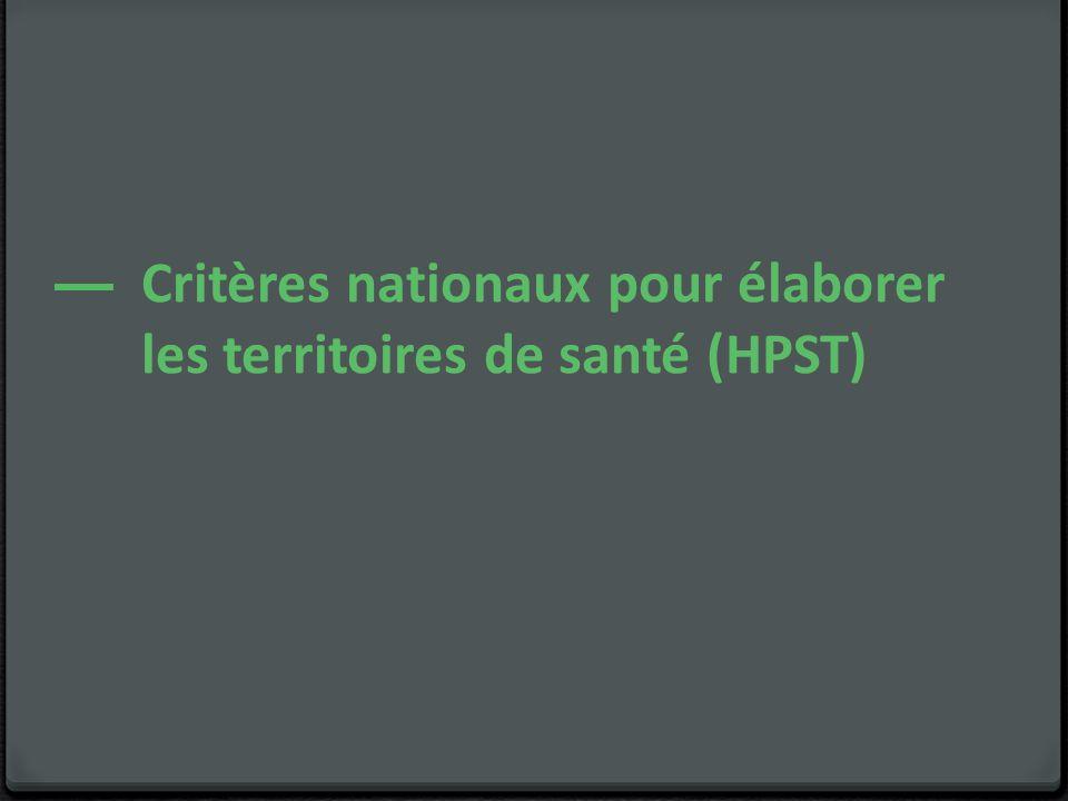 Critères nationaux pour élaborer les territoires de santé (HPST)