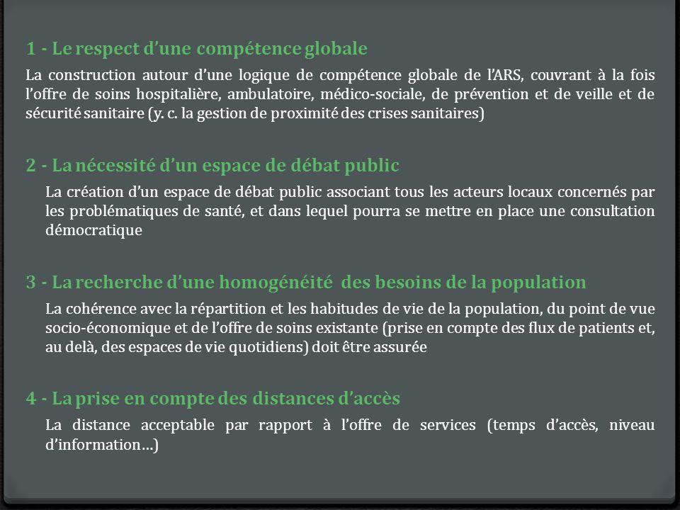 1 - Le respect d'une compétence globale La construction autour d'une logique de compétence globale de l'ARS, couvrant à la fois l'offre de soins hospitalière, ambulatoire, médico-sociale, de prévention et de veille et de sécurité sanitaire (y.