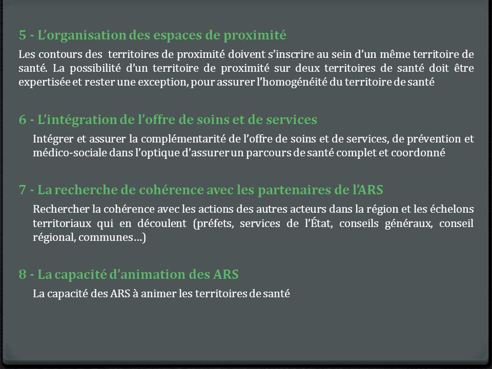 5 - L'organisation des espaces de proximité Les contours des territoires de proximité doivent s'inscrire au sein d'un même territoire de santé.