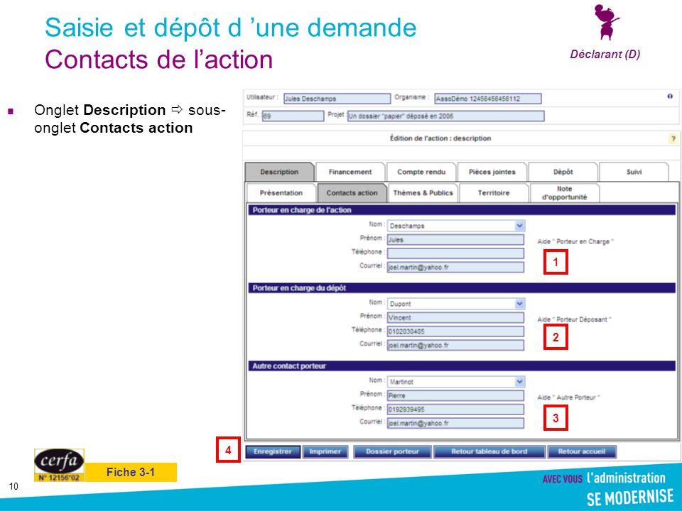 10 Saisie et dépôt d 'une demande Contacts de l'action Onglet Description  sous- onglet Contacts action Déclarant (D) 1 4 3 2 Fiche 3-1