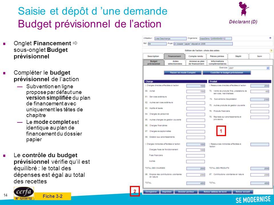 14 Saisie et dépôt d 'une demande Budget prévisionnel de l'action Onglet Financement  sous-onglet Budget prévisionnel Compléter le budget prévisionne