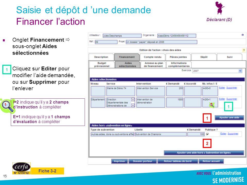 15 Saisie et dépôt d 'une demande Financer l'action Onglet Financement  sous-onglet Aides sélectionnées Cliquez sur Editer pour modifier l'aide deman