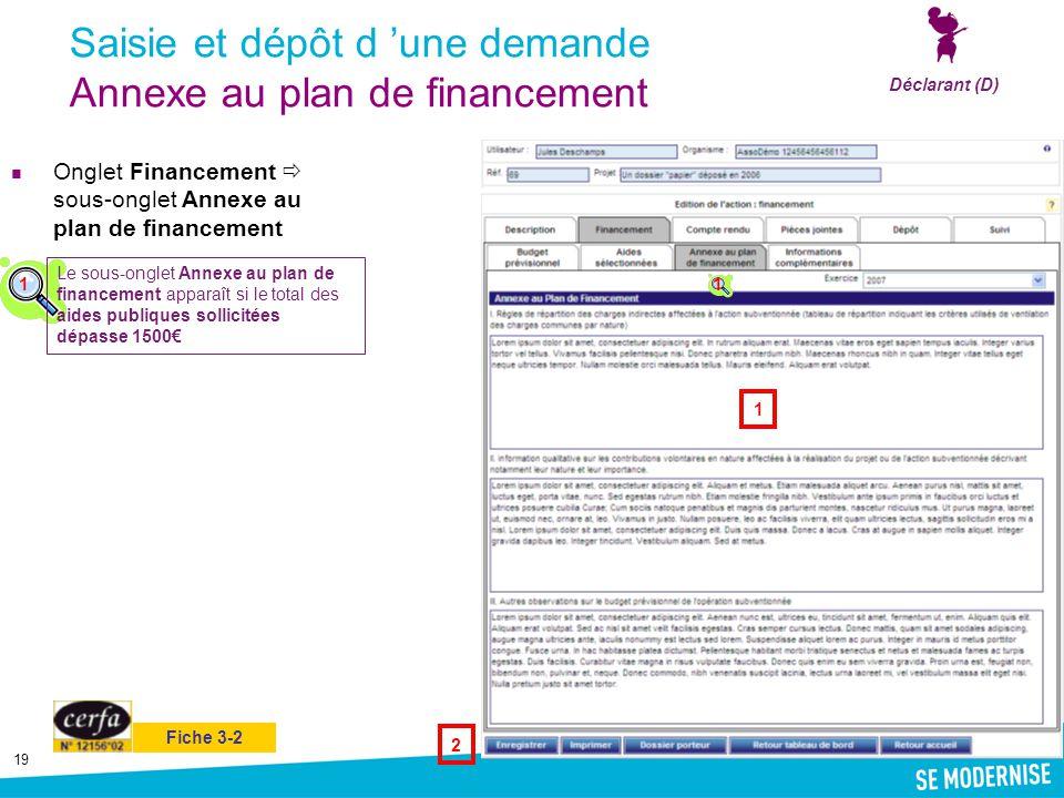 19 Saisie et dépôt d 'une demande Annexe au plan de financement Onglet Financement  sous-onglet Annexe au plan de financement Déclarant (D) 1 2 1 Le