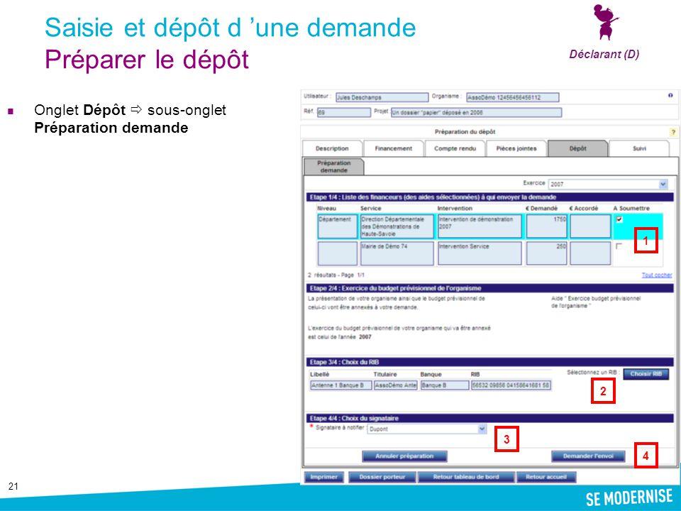 21 Saisie et dépôt d 'une demande Préparer le dépôt Onglet Dépôt  sous-onglet Préparation demande Déclarant (D) 1 4 2 3