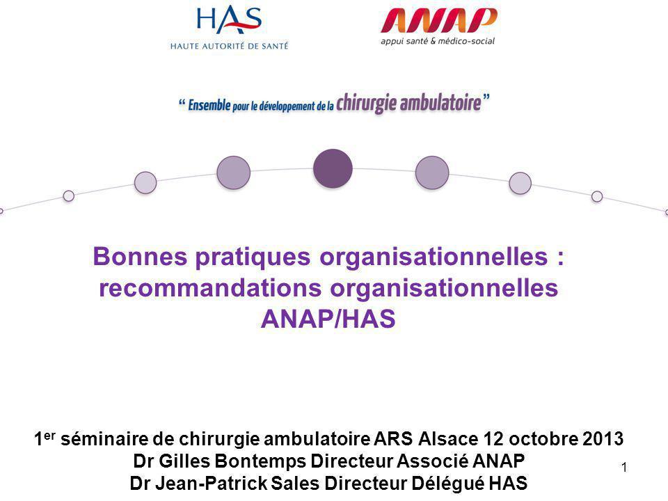 1 Bonnes pratiques organisationnelles : recommandations organisationnelles ANAP/HAS 1 er séminaire de chirurgie ambulatoire ARS Alsace 12 octobre 2013