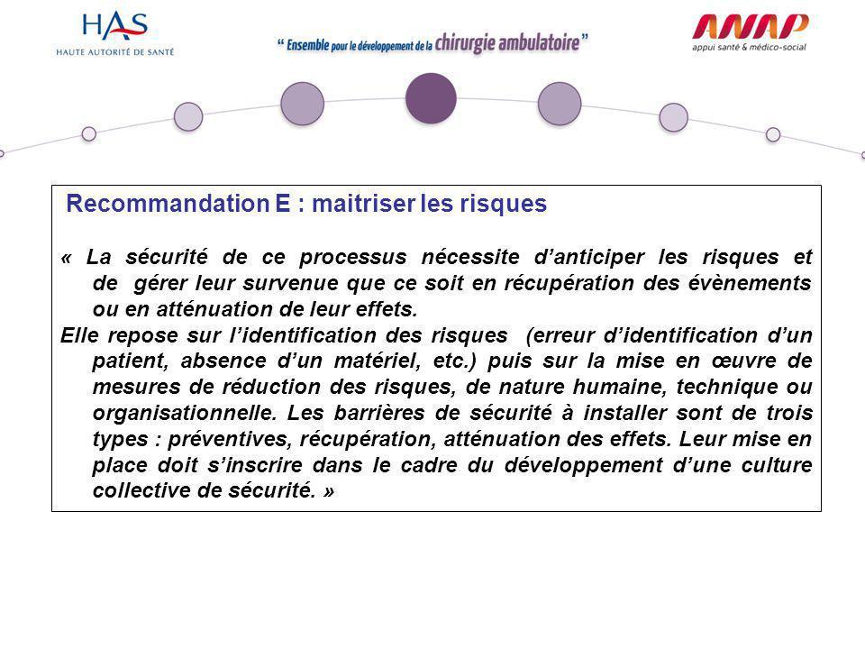 Recommandation E : maitriser les risques « La sécurité de ce processus nécessite d'anticiper les risques et de gérer leur survenue que ce soit en récu