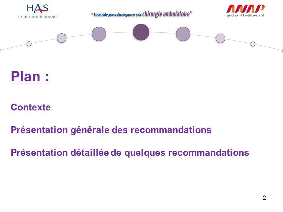 2 Plan : Contexte Présentation générale des recommandations Présentation détaillée de quelques recommandations