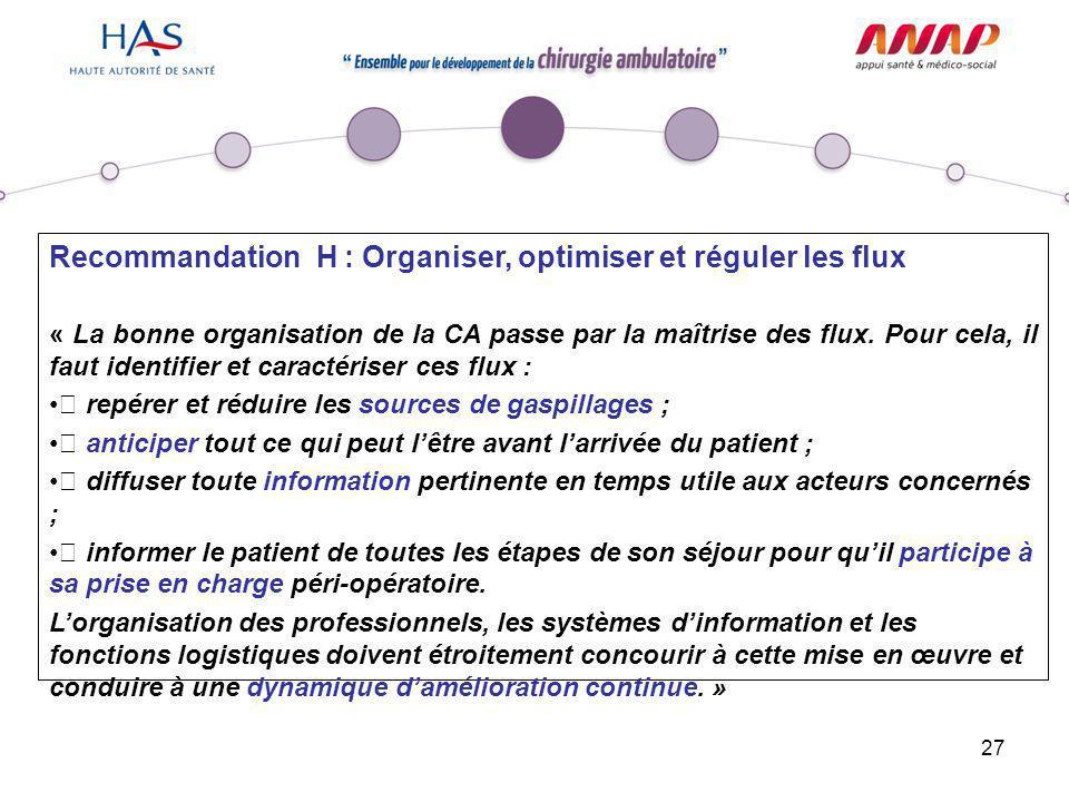 27 Recommandation H : Organiser, optimiser et réguler les flux « La bonne organisation de la CA passe par la maîtrise des flux. Pour cela, il faut ide