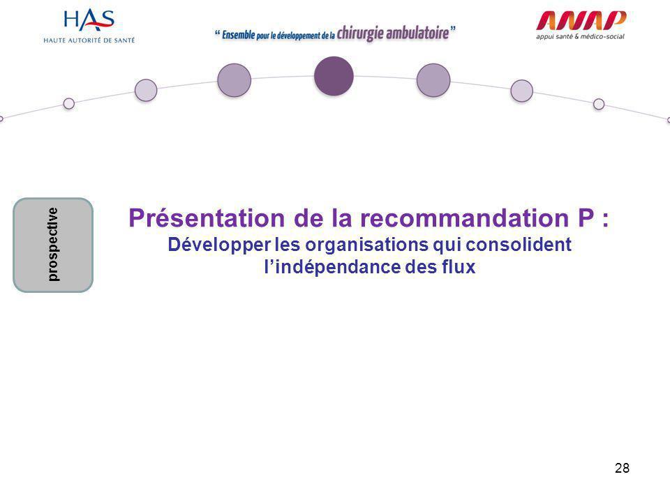 28 Présentation de la recommandation P : Développer les organisations qui consolident l'indépendance des flux prospective