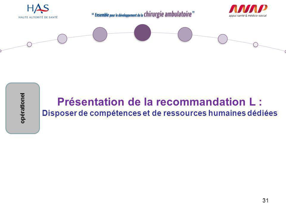 31 Présentation de la recommandation L : Disposer de compétences et de ressources humaines dédiées opérationel