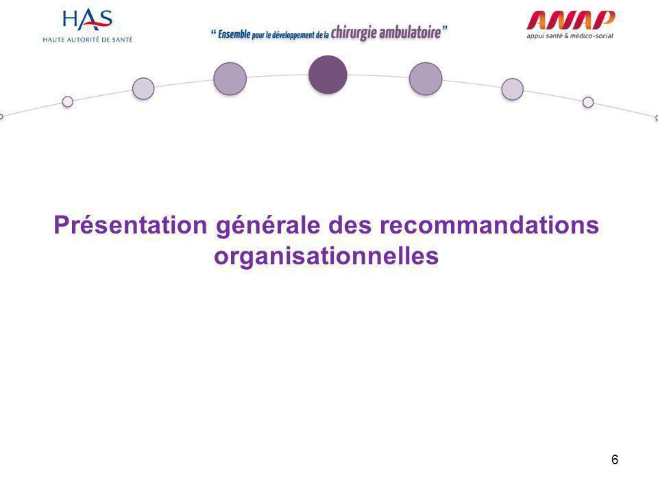 6 Présentation générale des recommandations organisationnelles
