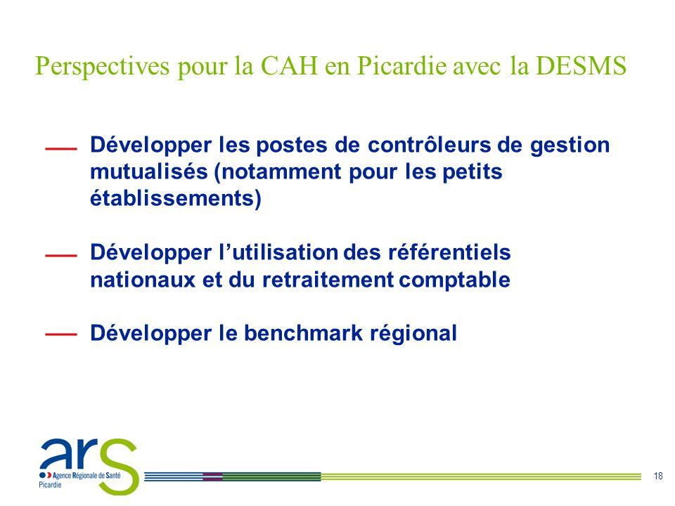 18 Favoriser les coopérations entre établissements publics de santé pour Développer les postes de contrôleurs de gestion mutualisés (notamment pour les petits établissements) Développer l'utilisation des référentiels nationaux et du retraitement comptable Développer le benchmark régional Perspectives pour la CAH en Picardie avec la DESMS