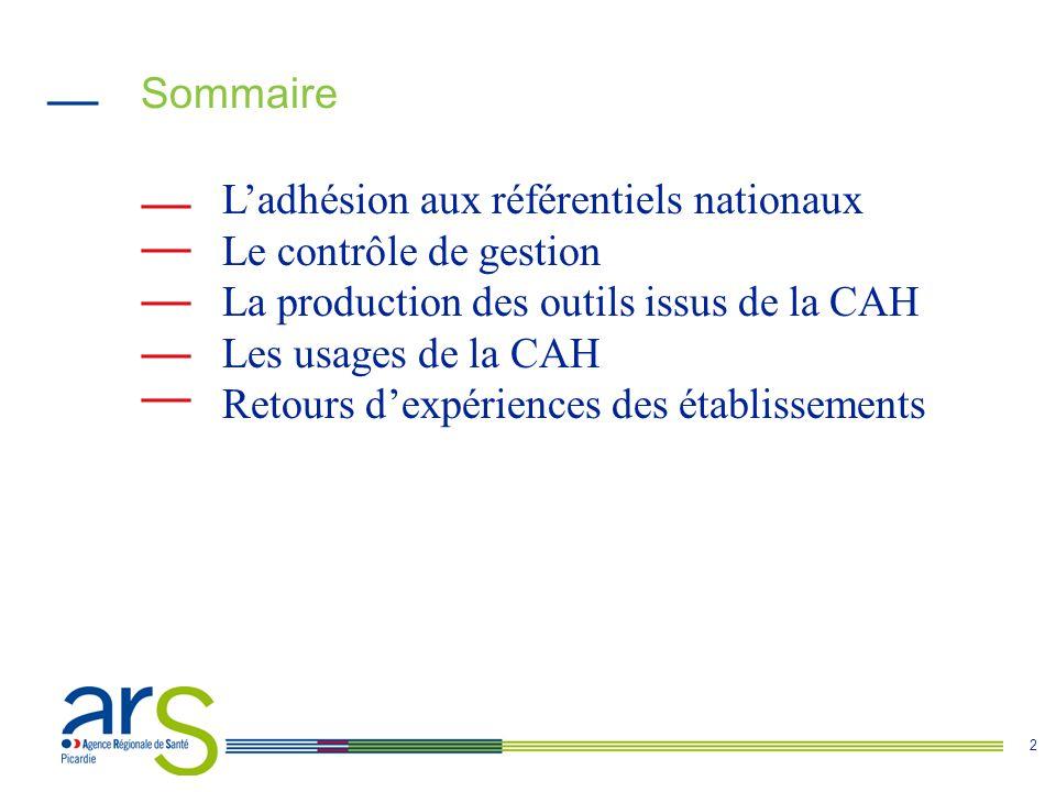 2 Sommaire L'adhésion aux référentiels nationaux Le contrôle de gestion La production des outils issus de la CAH Les usages de la CAH Retours d'expériences des établissements
