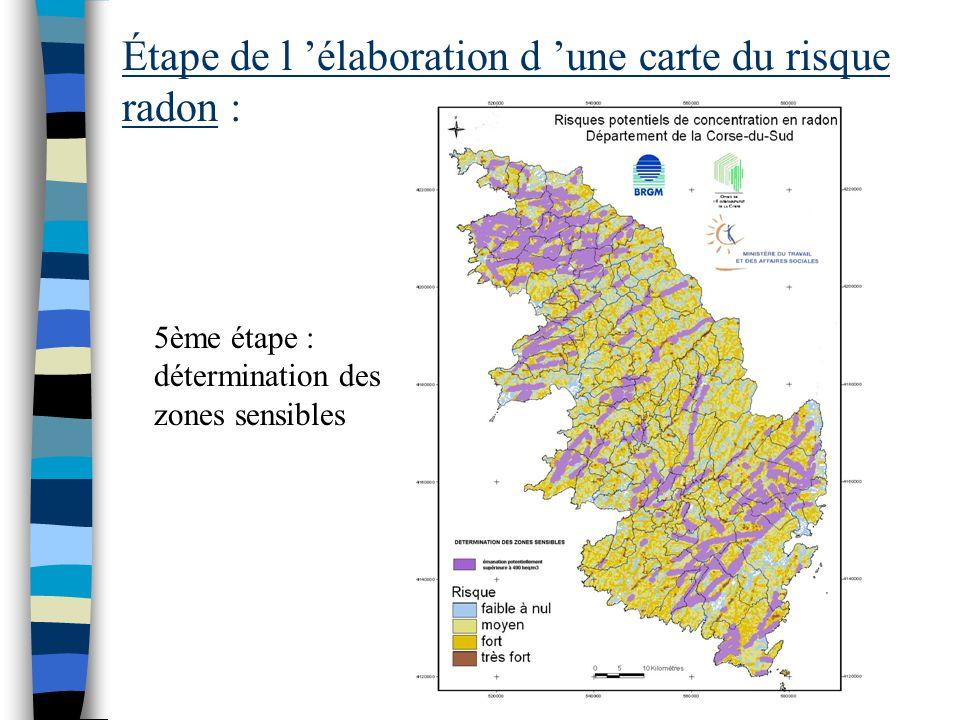Étape de l 'élaboration d 'une carte du risque radon : 4ème étape : calcul du risque potentiel