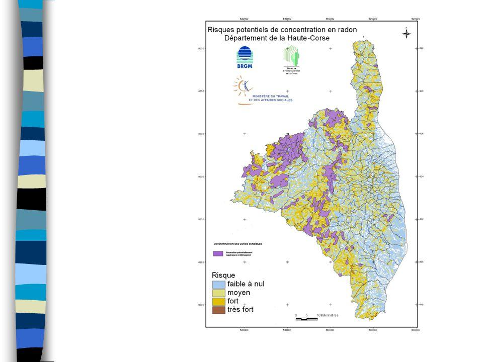 Étape de l 'élaboration d 'une carte du risque radon : 5ème étape : détermination des zones sensibles