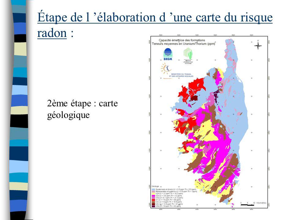 Étape de l 'élaboration d 'une carte du risque radon : 1er étape : constat du risque