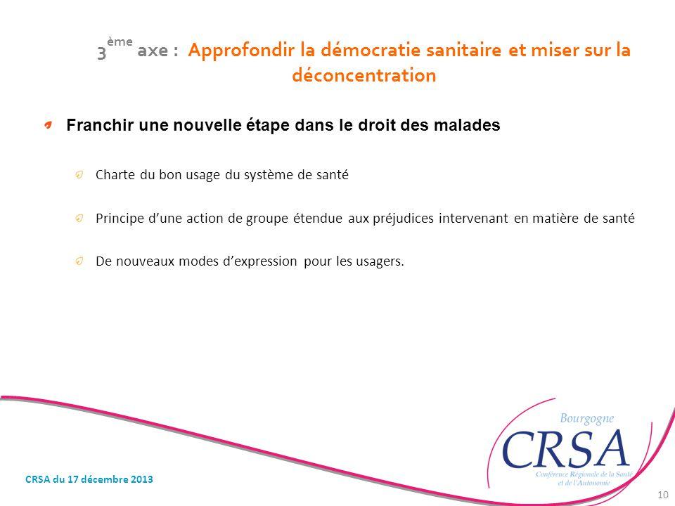 3 ème axe : Approfondir la démocratie sanitaire et miser sur la déconcentration Franchir une nouvelle étape dans le droit des malades Charte du bon us