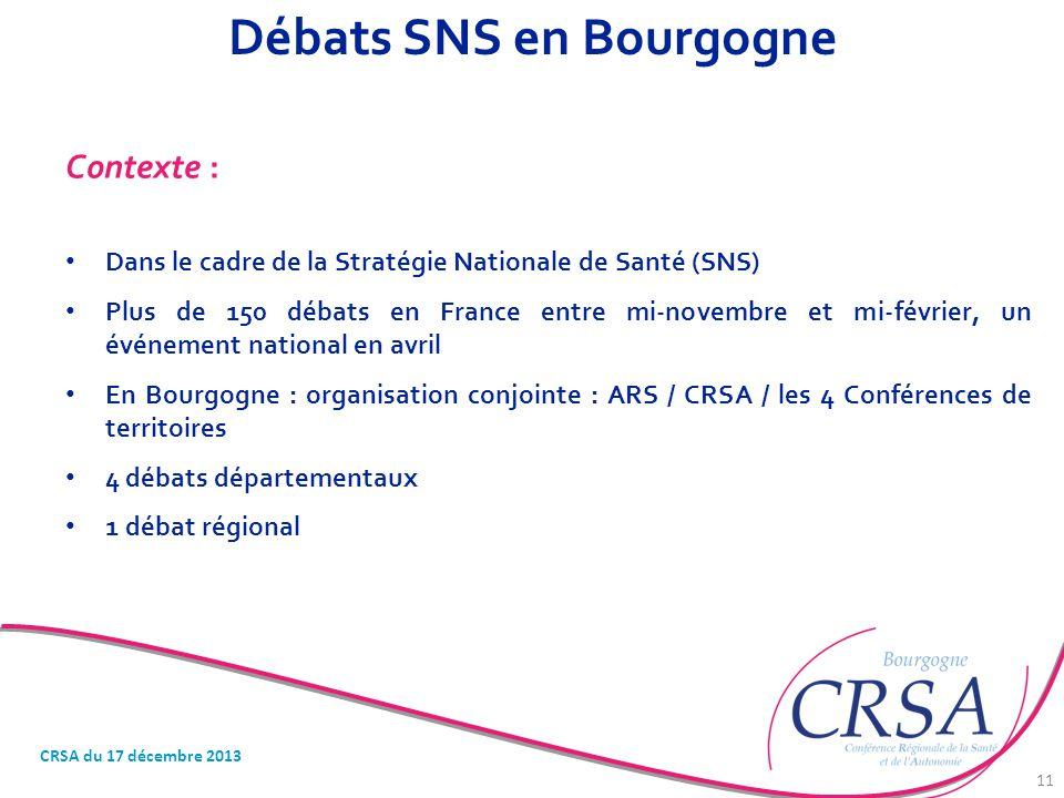 Débats SNS en Bourgogne Contexte : Dans le cadre de la Stratégie Nationale de Santé (SNS) Plus de 150 débats en France entre mi-novembre et mi-février