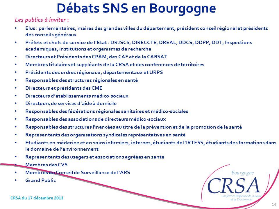 Débats SNS en Bourgogne Les publics à inviter : Elus : parlementaires, maires des grandes villes du département, président conseil régional et préside