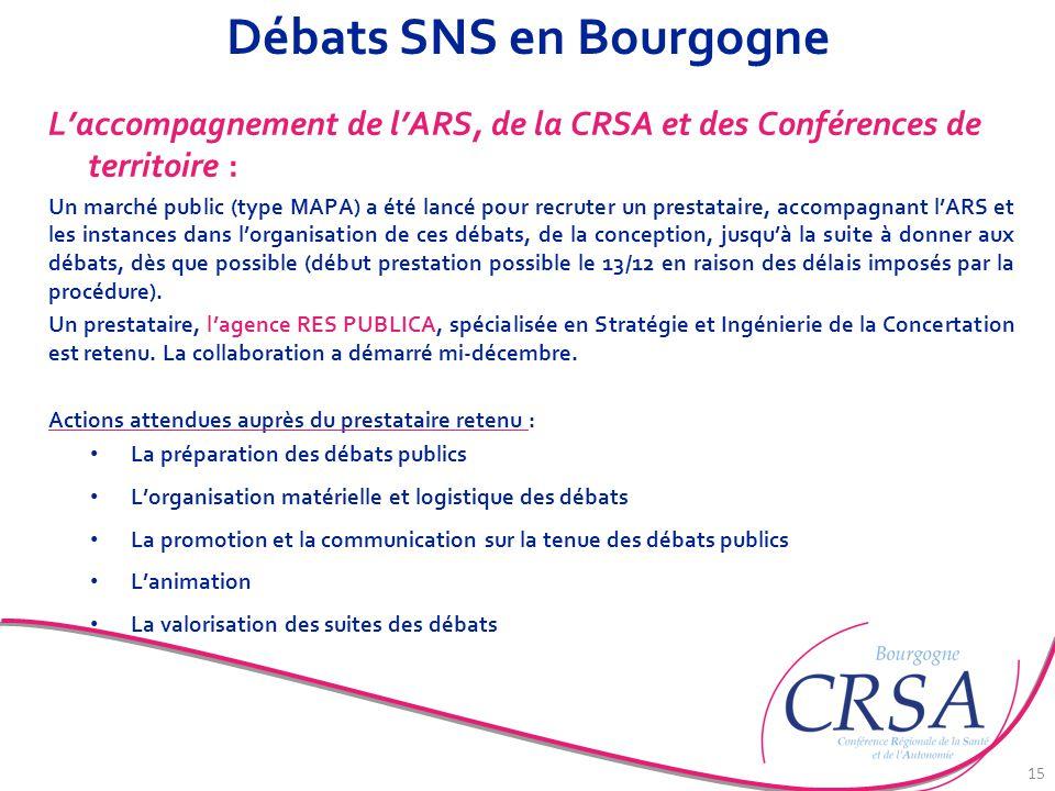 Débats SNS en Bourgogne L'accompagnement de l'ARS, de la CRSA et des Conférences de territoire : Un marché public (type MAPA) a été lancé pour recrute