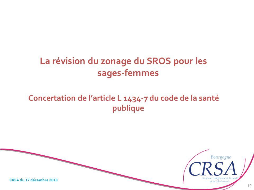 La révision du zonage du SROS pour les sages-femmes Concertation de l'article L 1434-7 du code de la santé publique CRSA du 17 décembre 2013 19