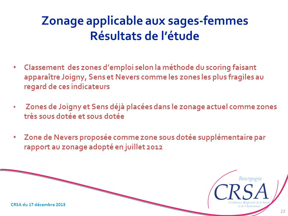 Zonage applicable aux sages-femmes Résultats de l'étude Classement des zones d'emploi selon la méthode du scoring faisant apparaître Joigny, Sens et N