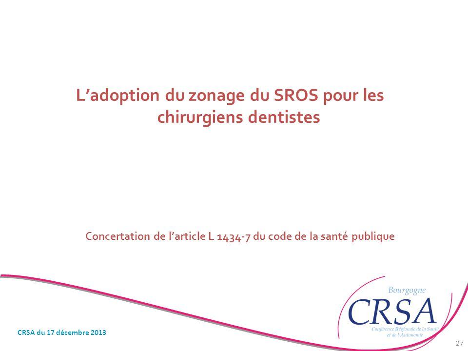 L'adoption du zonage du SROS pour les chirurgiens dentistes Concertation de l'article L 1434-7 du code de la santé publique CRSA du 17 décembre 2013 2