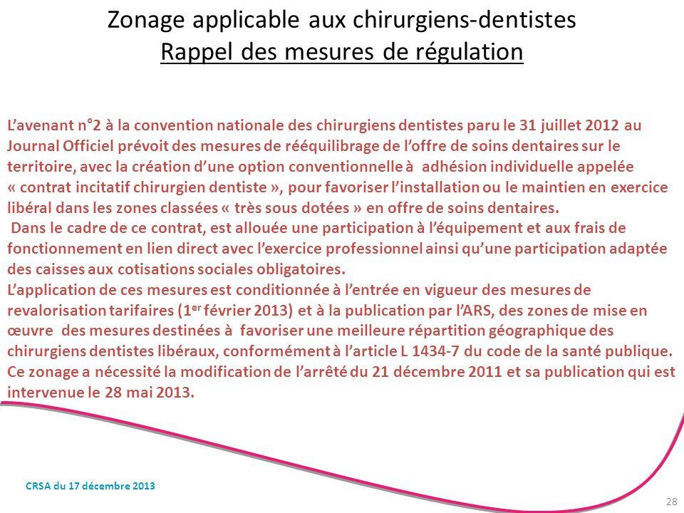 Zonage applicable aux chirurgiens-dentistes Rappel des mesures de régulation L'avenant n°2 à la convention nationale des chirurgiens dentistes paru le